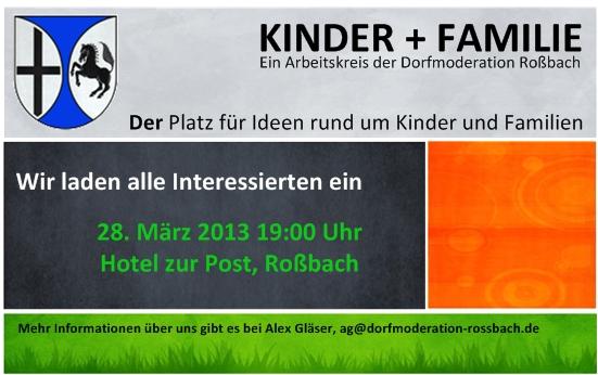 Einladung Arbeitskreis Kinder+Familie 28.03.13 Hotel zur Post